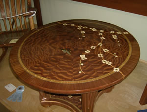 Best in Finishing – Tom Christenson for his beautiful table.  The table was expertly crafted.  The inlay and final finish was truly outstanding, great job Tom!